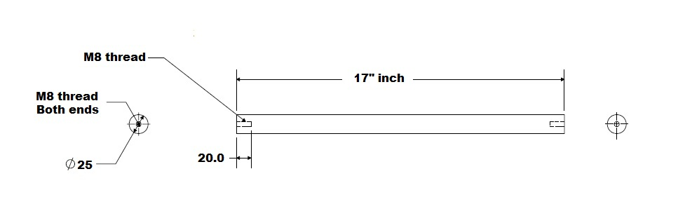 25mm Hardened along the axe Tapped Shaft 17inch Long Linear Motion