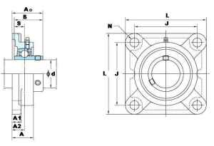 "1 1/4"" Square Flanged Mounted Bearing UCF206-20:vxb:Ball Bearing"