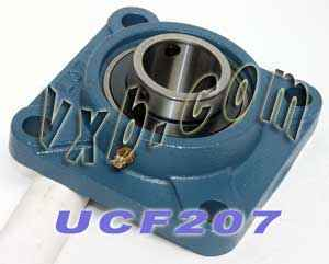 35mm Mounted Bearing UCF207 + Square Flanged Cast Housing:vxb:Ball Bearing