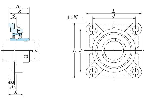 UCF326 Square Flanged Mounted Bearing:FYH:Ball Bearing