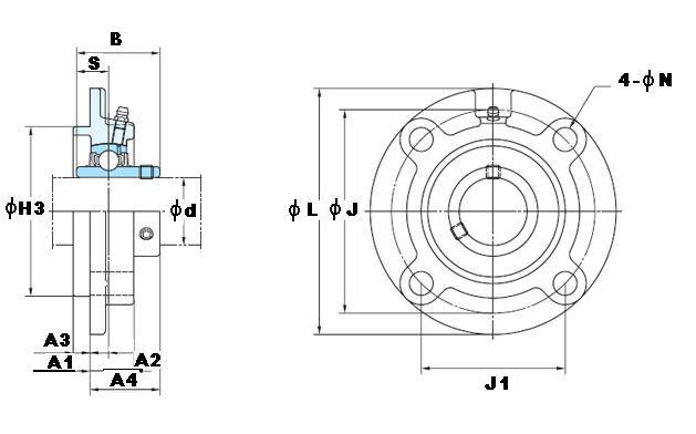"1"" Round flanged Mounted Bearing UCFC-205-16:vxb:Ball Bearing"