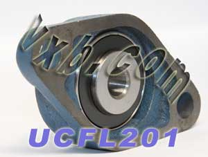 12mm Mounted Bearing UCFL201 + 2 Bolts Flanged Cast Housing:vxb:Ball Bearing