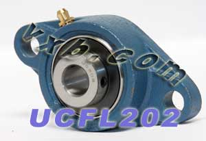15mm Mounted Bearing UCFL202 + 2 Bolts Flanged Cast Housing:vxb:Ball Bearing