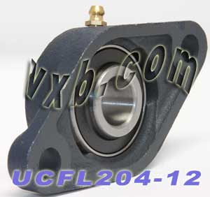 "3/4"" Mounted Bearing UCFL204-12 + 2 Bolts Flanged Cast Housing:vxb:Ball Bearing"