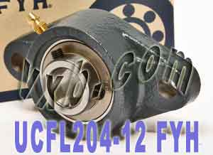 "3/4"" UCFL204-12E + 2 Bolts Flanged Cast Housing:vxb:Ball Bearing"