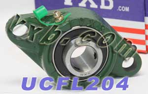 20mm Mounted Bearing UCFL204 + 2 Bolts Flanged Cast Housing:vxb:Ball Bearing