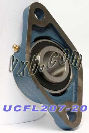 "1-1/4"" Mounted Bearing UCFL207-20 + 2 Bolts Flanged Cast Housing:vxb:Ball Bearing"