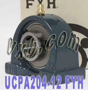 "3/4"" Mounted Bearing UCPA204-12 + Pillow Block Cast Housing:vxb:Ball Bearing"