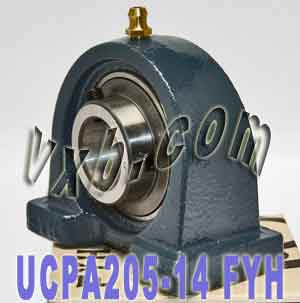 "7/8"" Mounted Bearing UCPA205-14 + Pillow Block Cast Housing:vxb:Ball Bearing"