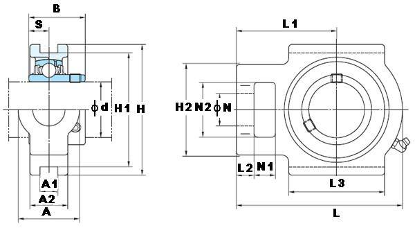 "7/8"" Take Up Mounted Bearing UCT205-14:vxb:Ball Bearing"
